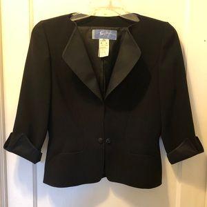 THIERRY MUGLER Black Tuxedo Jacket Blazer 46 10 12